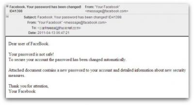 Fake Facebook support message. Dear user of FaceBook